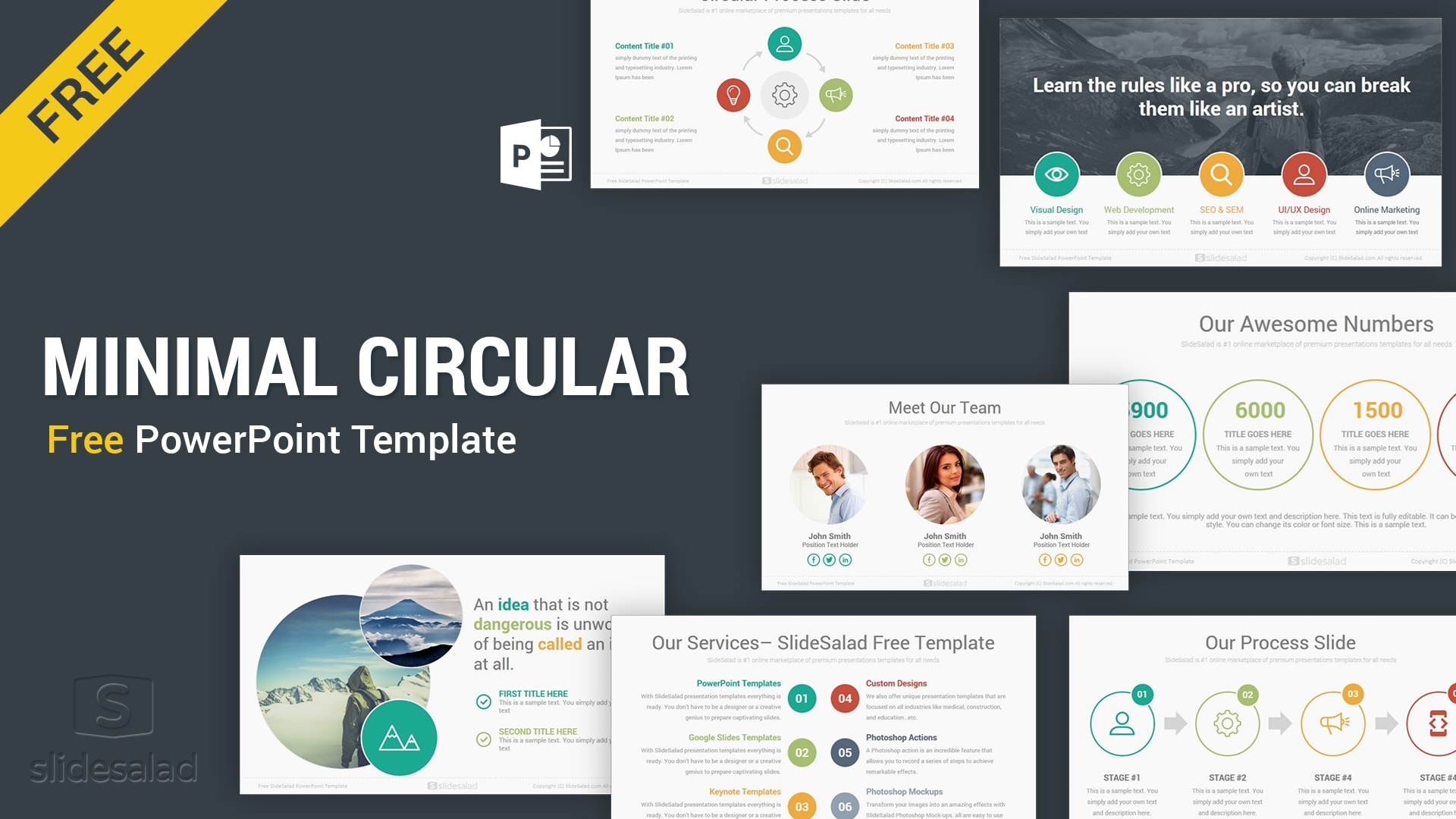 Circular Free Download Minimal PowerPoint Template PPT Slides – Best Free Infographic PPT Template for Multiniche Presentations