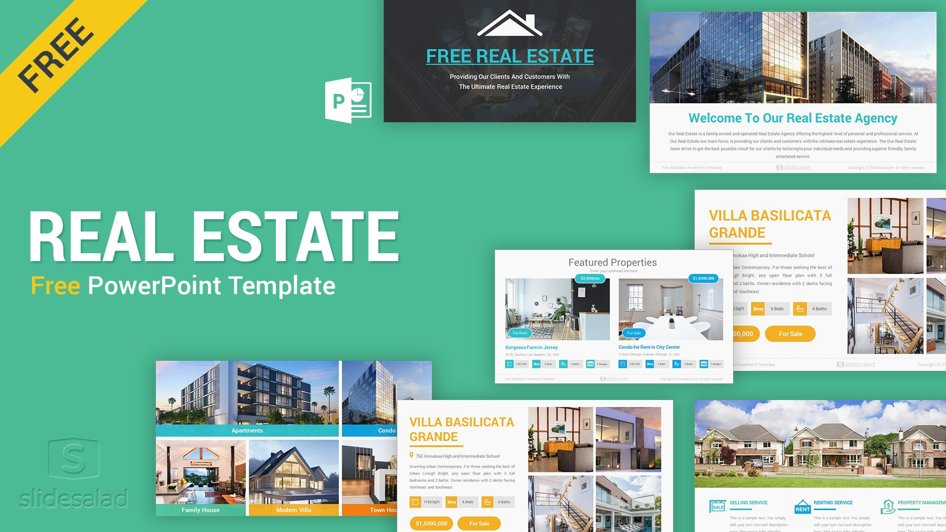 Free Real Estate PowerPoint Template Design – Nice Property Listing PPT Template for Buy, Rent, and Lease