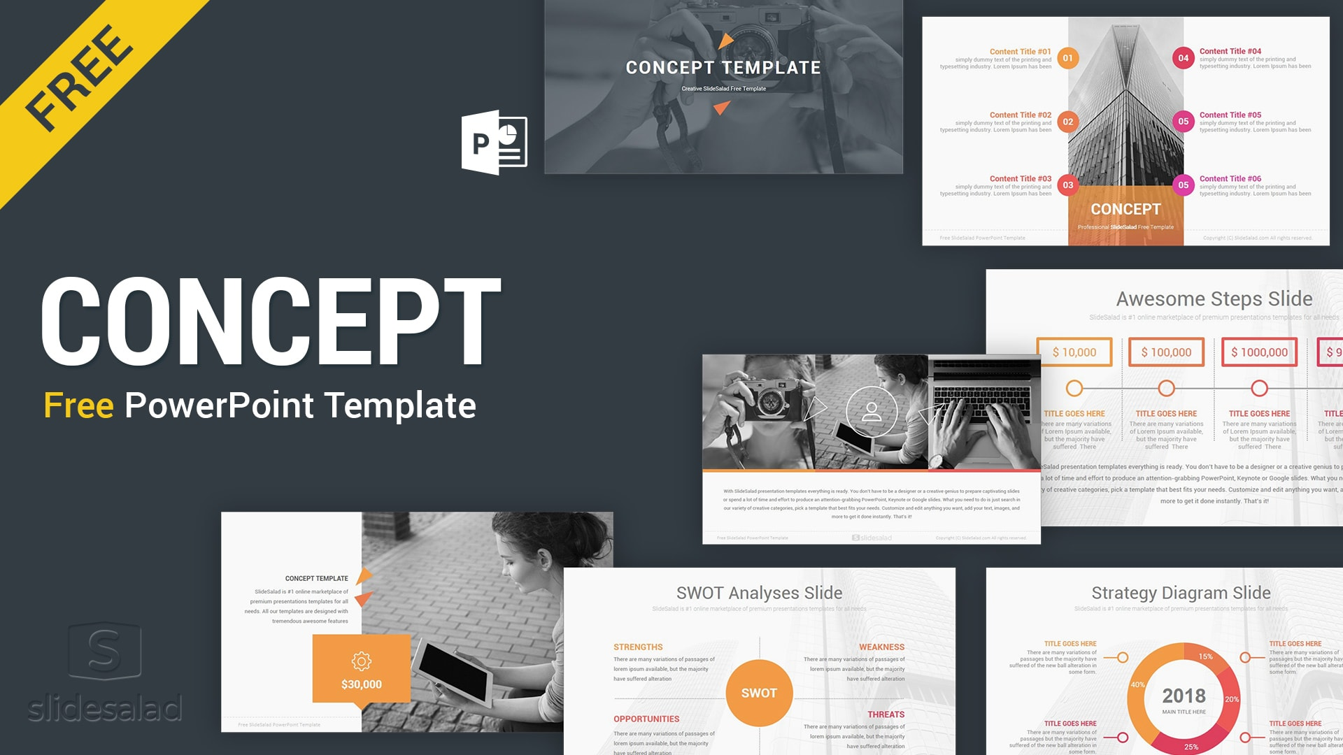 Concept: Free Business Download PowerPoint Templates – Top-rated SWOT Analysis PPT Slideshows