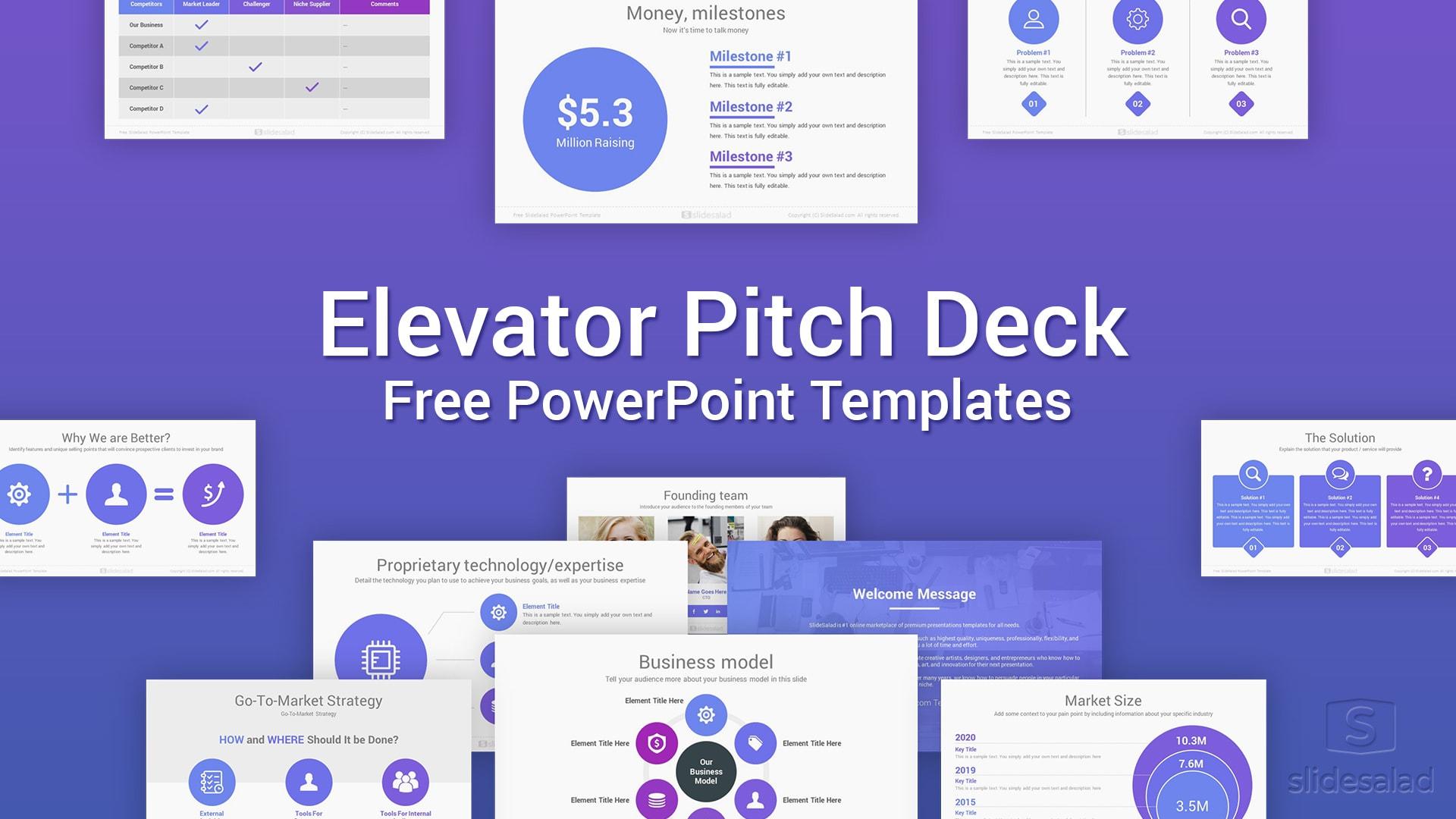 Elevator Free PowerPoint Pitch Deck Templates – PowerPoint Investor Presentation Deck