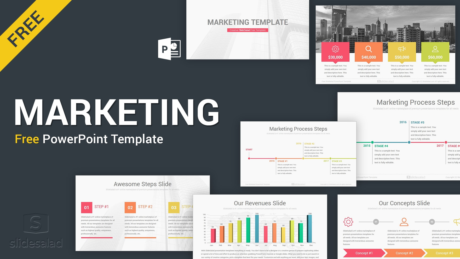Free Marketing PowerPoint Templates – Online and Offline Marketing Theme for PPT Presentations
