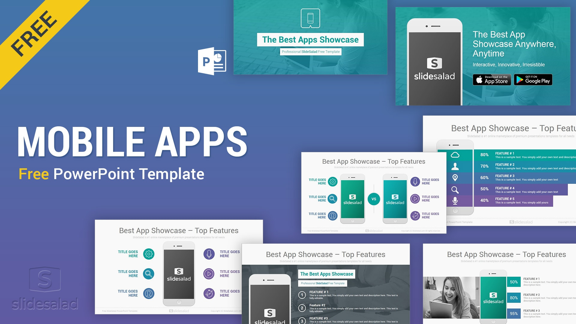 Free Mobile Apps PowerPoint Presentation Templates – Best Free PPT Template for App Development Presentations and Proposals