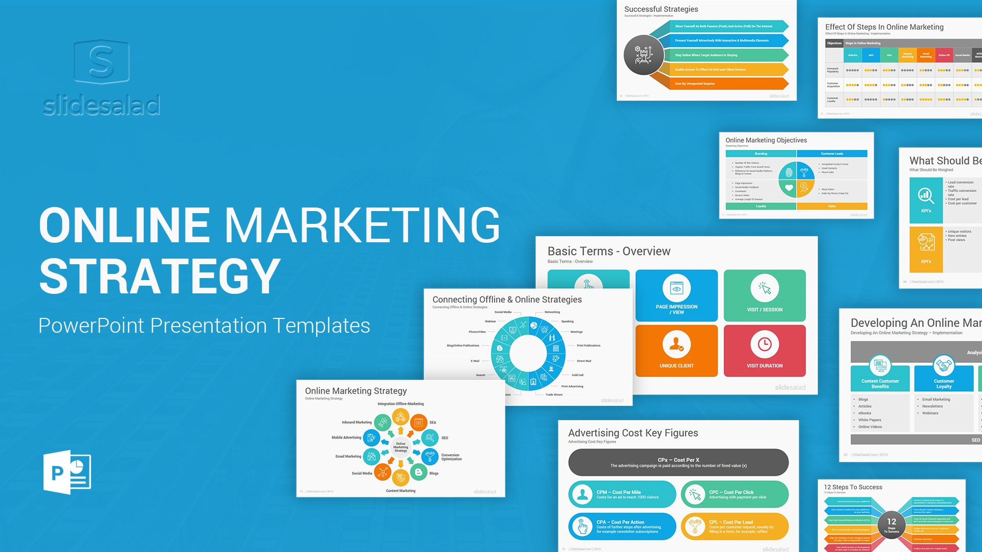 Online Marketing Strategy PowerPoint Template – Social Media Marketing PowerPoint Template