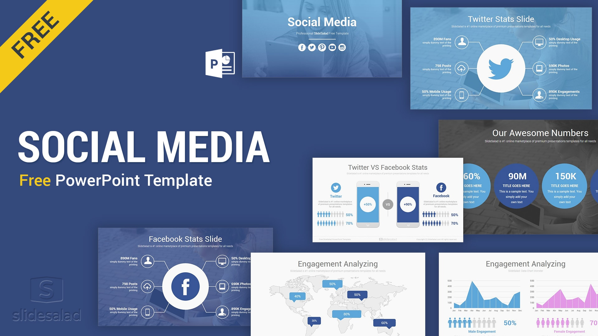 Social Media Free PowerPoint Template PPT Slides – Top Rated Free Social Media Planning PPT Template