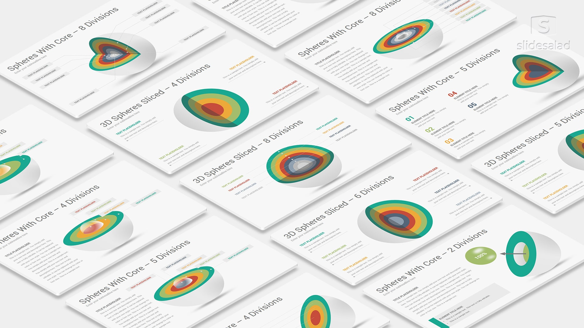 3D Spheres Divisions PowerPoint Template Infographics Designs – Infographics Pack PowerPoint Template
