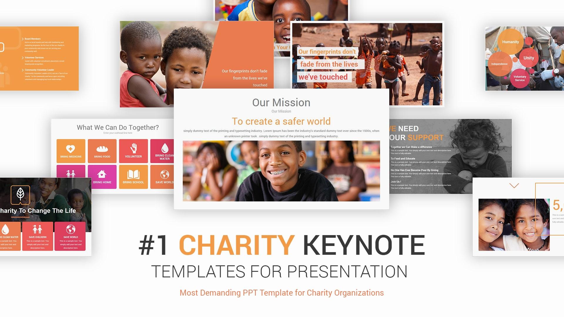 Charity Keynote Presentation Template – Clean Modern Keynote Template Design