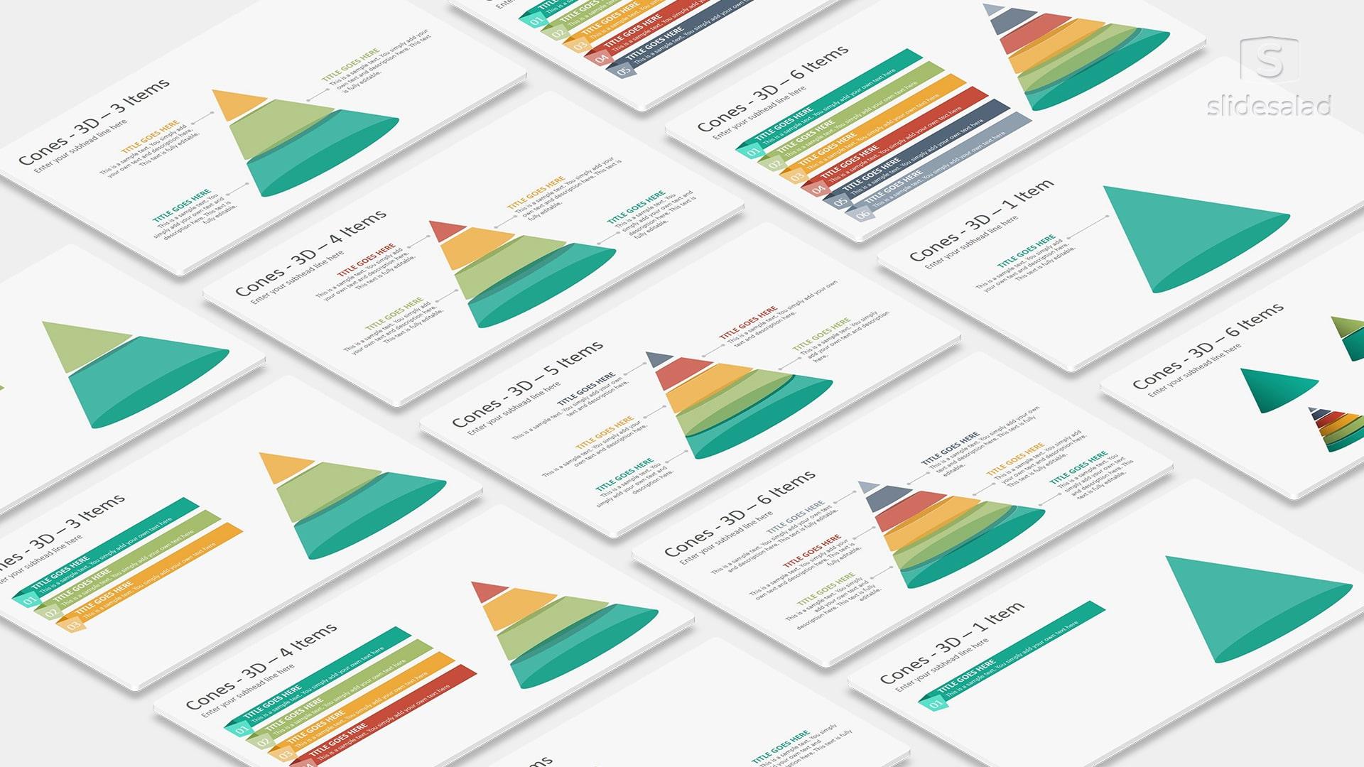 3D Cones Infographics PowerPoint Presentation Template – PowerPoint Infographic Presentation System