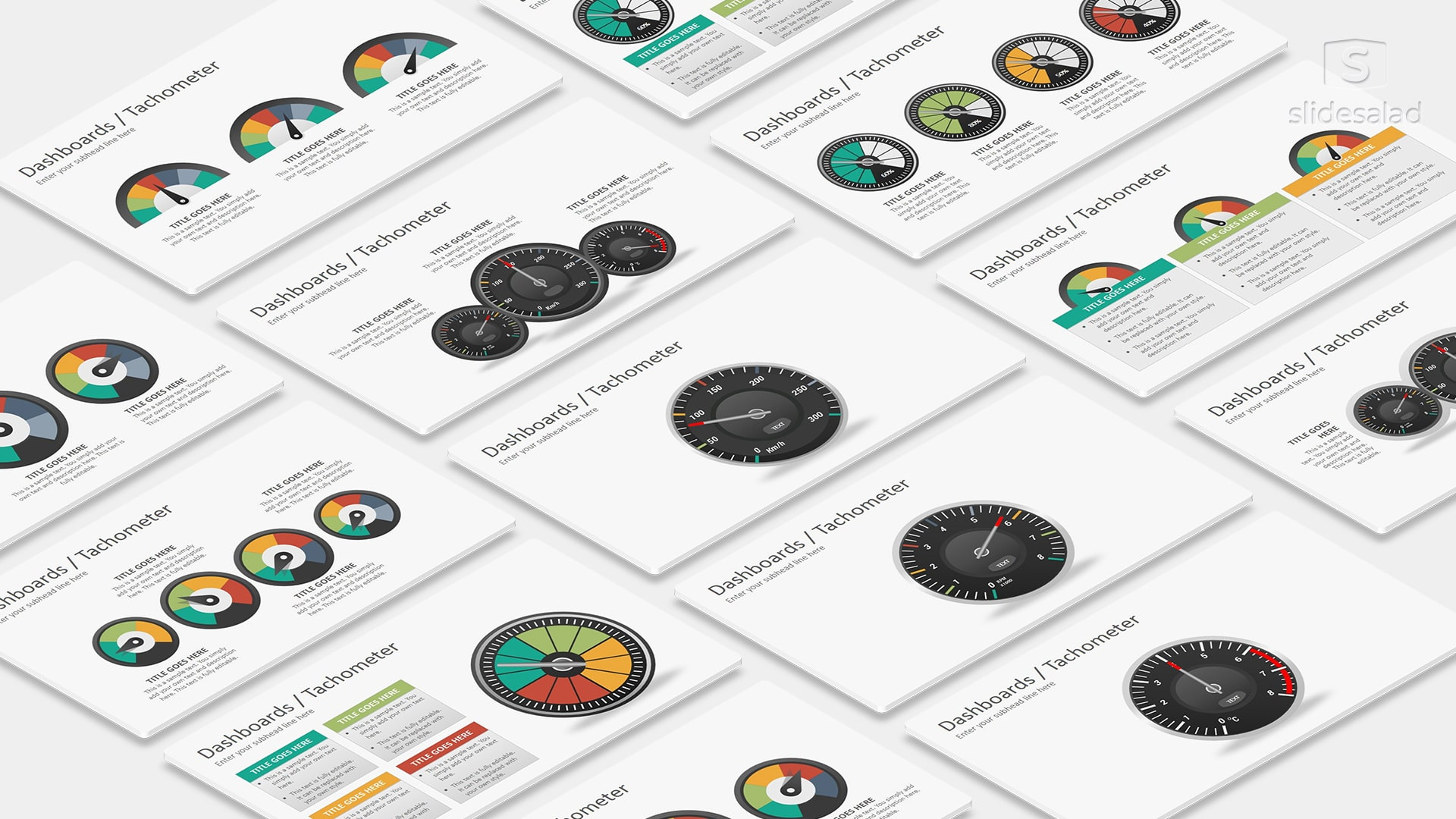 Dashboards Tachometer Diagrams PowerPoint Presentation Template – Infographic Template PowerPoint
