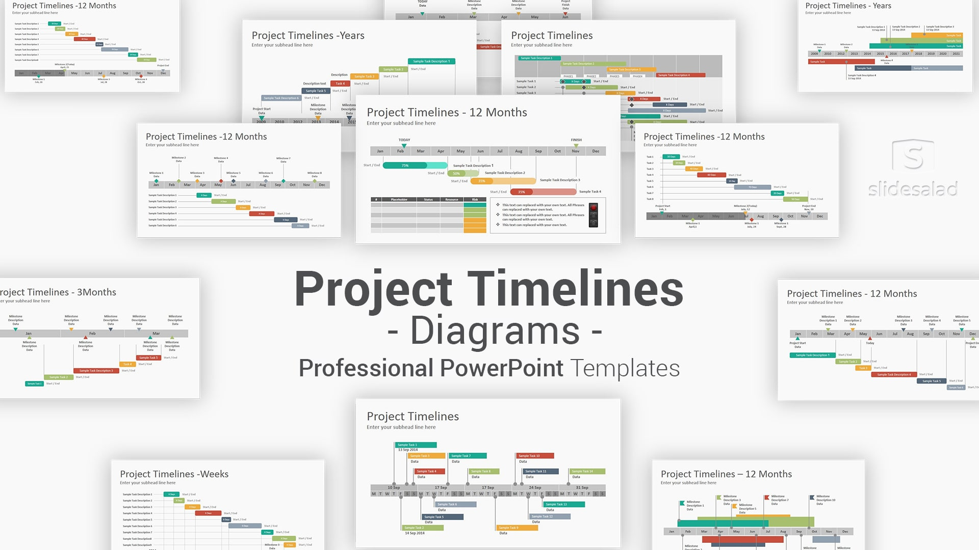 Project Timelines Diagrams PowerPoint Presentation Template – Project Management Infographics