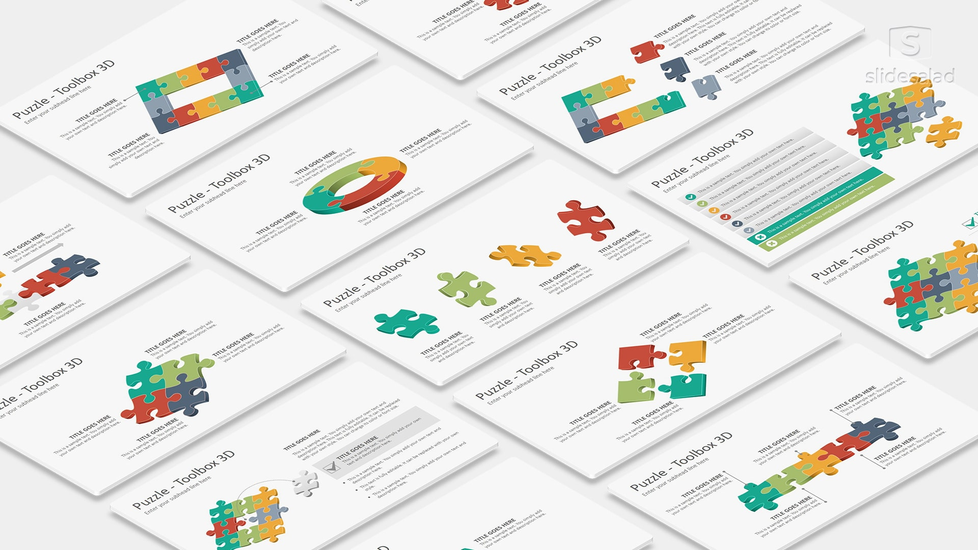 3D Puzzle Infographics PowerPoint Presentation Template – Quiz Style Infographics