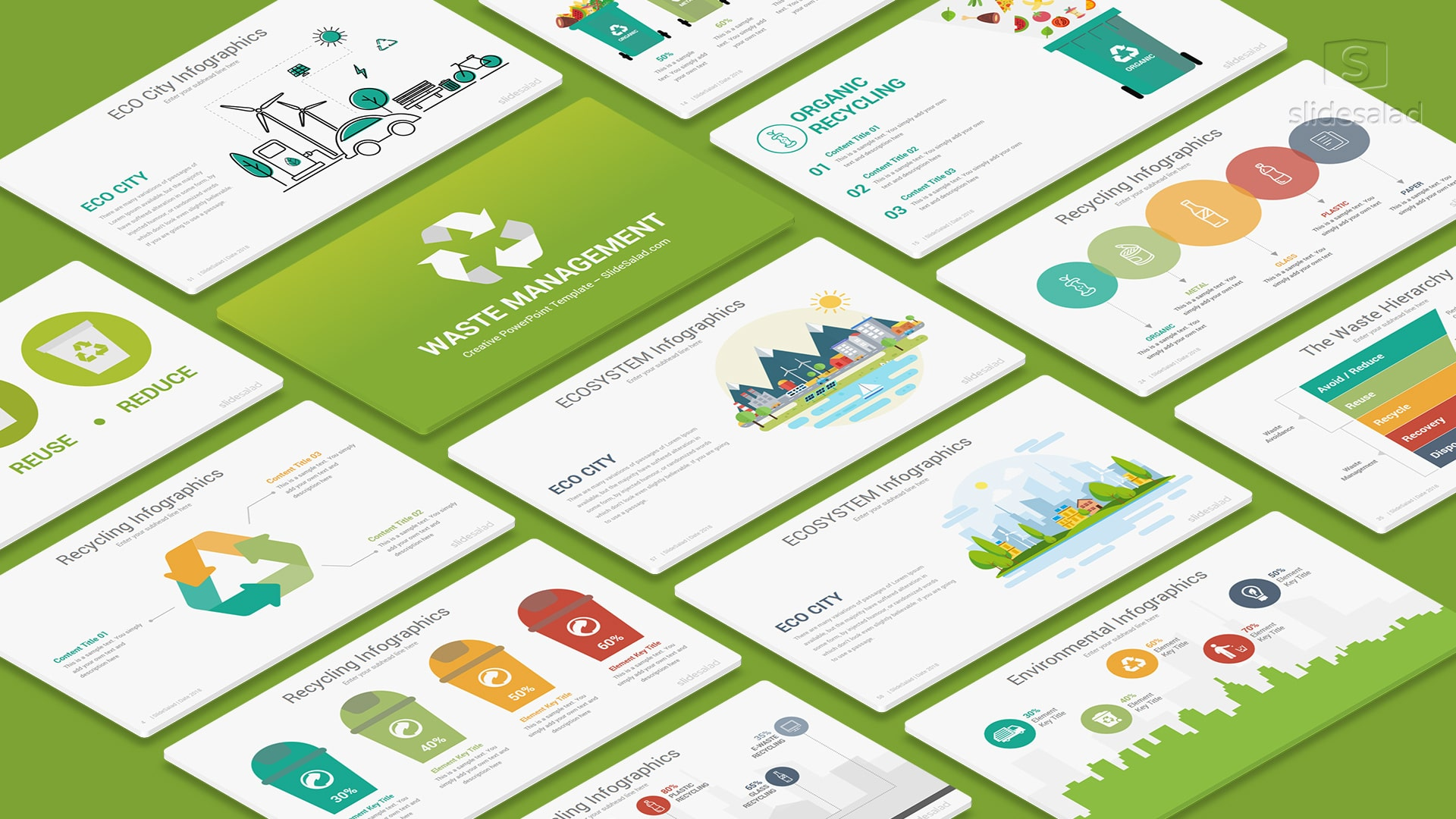 Waste Management PowerPoint Template Designs – Recycling Infographics
