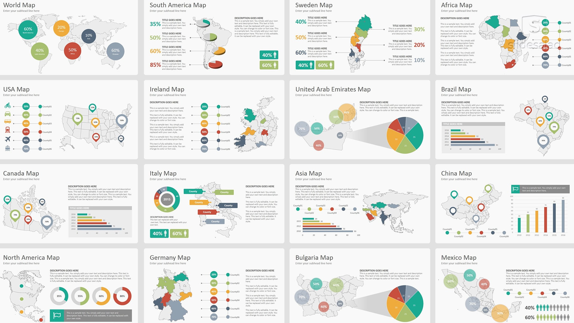 All World Maps Infographics PowerPoint Presentation Template – Vector Infographics
