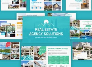 Real Estate Agency Solutions PowerPoint Template for Presentations – Premium Real Estate Business Templates