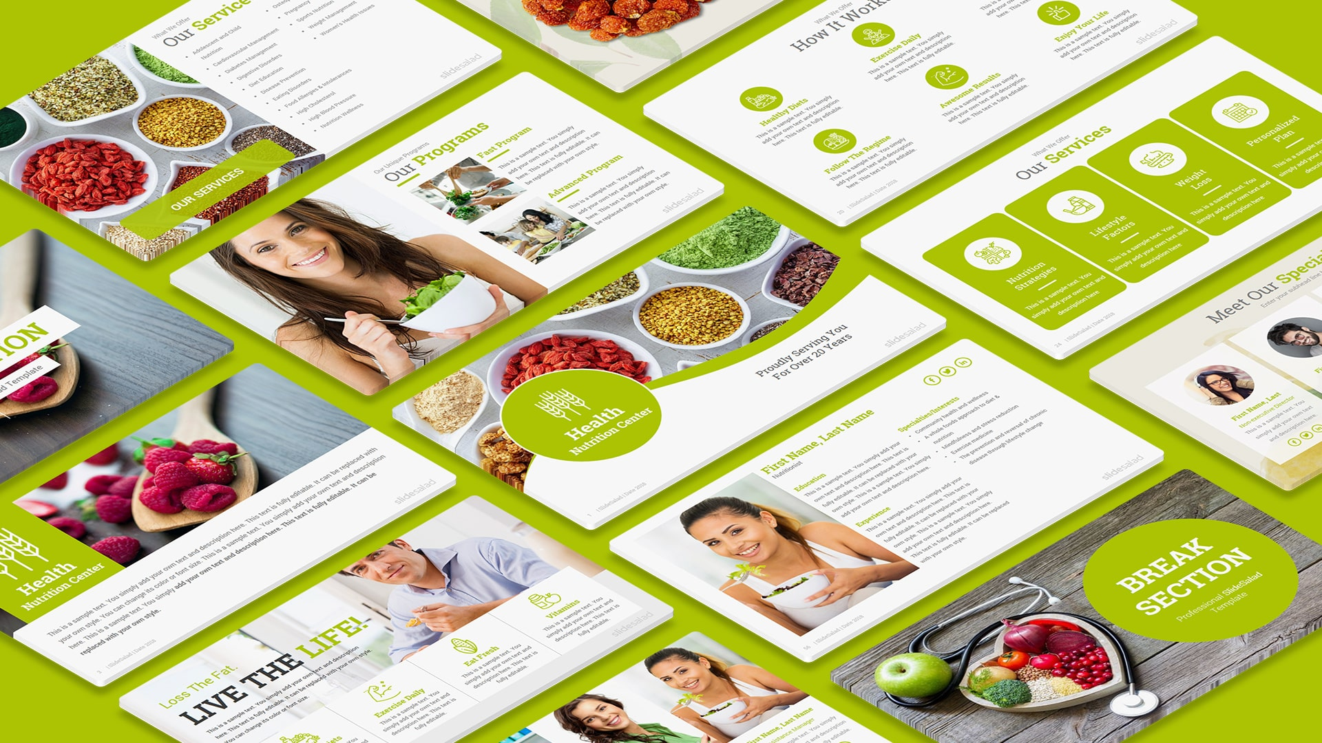 Best Diet and Nutrition PowerPoint Template Designs – Multipurpose Healthcare PowerPoint Template