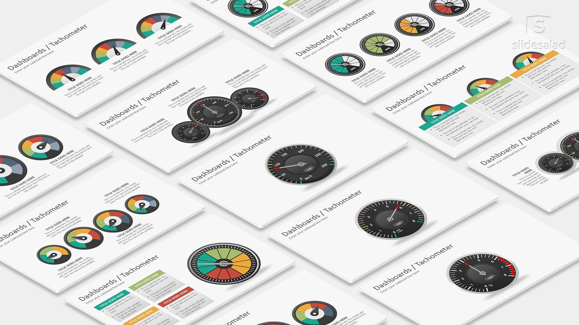 Dashboards Tachometer Diagrams Google Slides Presentation Template