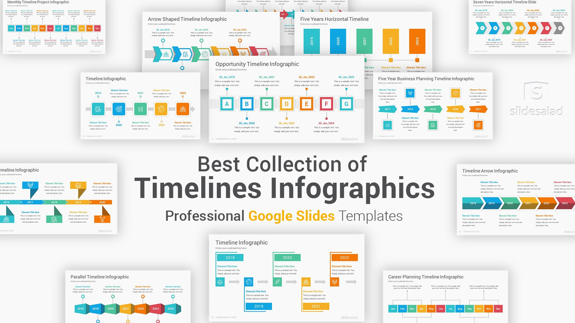 Timelines Infographics Google Slides Template Diagrams