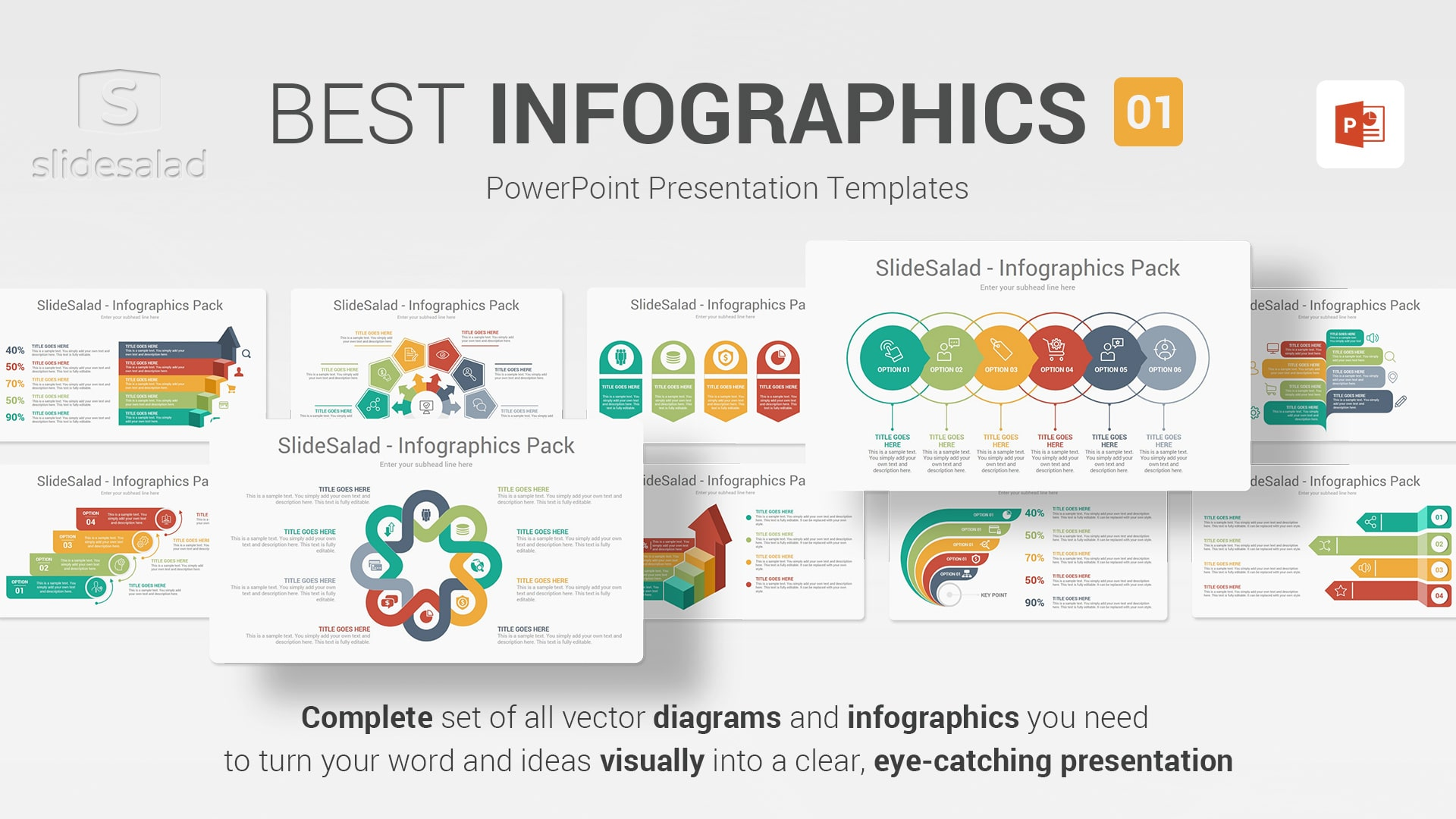 Best Infographics Designs PowerPoint Template Pack 01 - Top Webinar Illustration PowerPoint Templates