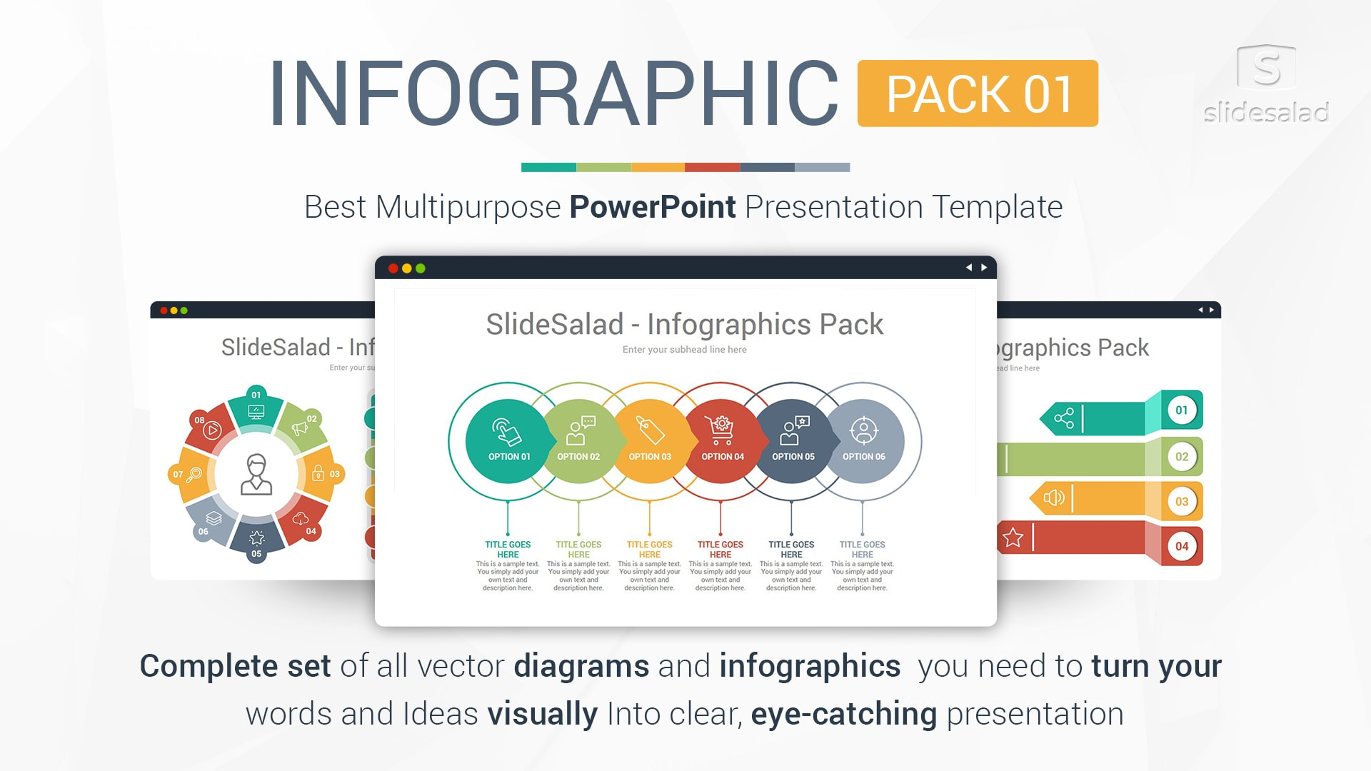 Best Infographics Designs PowerPoint Template Pack 01 - Fun PowerPoint Template With Cool Minimal Style