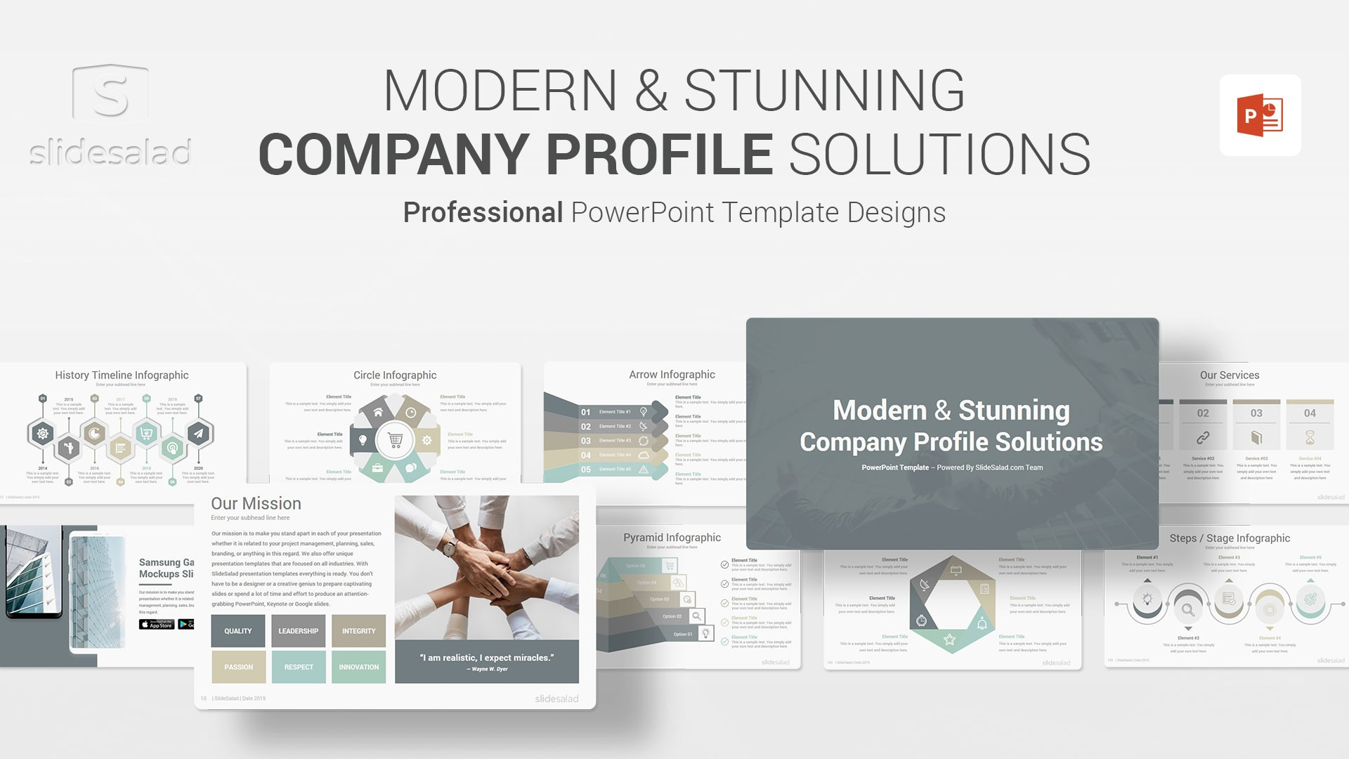 Modern Company Profile PowerPoint Template Designs - Colorful PowerPoint Webinar Layouts