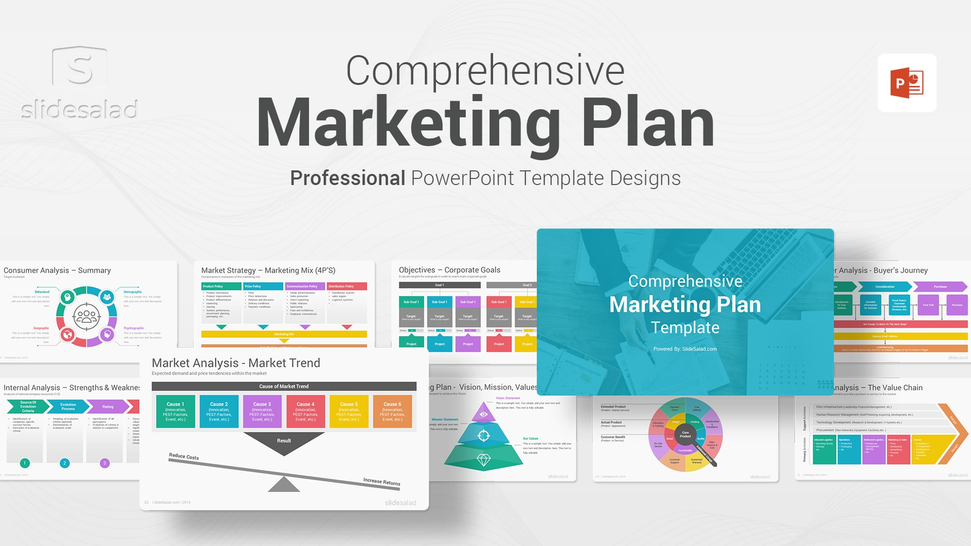 Best Marketing Plan PowerPoint (PPT) Template - Customizable PowerPoint Slide Design Template