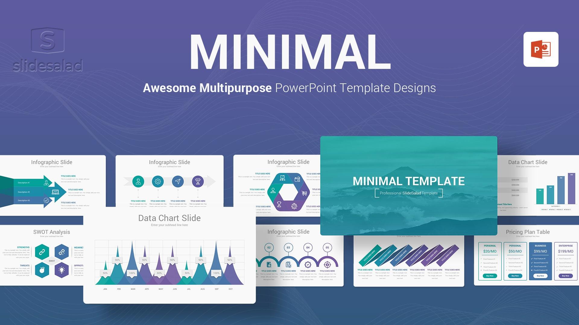 Minimal PowerPoint Presentation Template Design - Fully Customizable Formal PowerPoint Templates