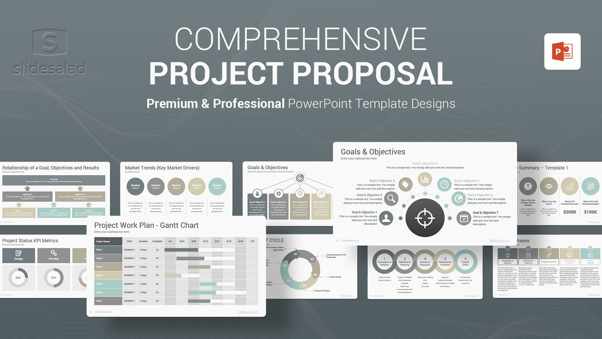 Project Proposal PowerPoint Template - Awesome Completely Customizable PowerPoint Themes